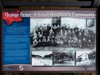 Orange Grove: A Small Neighborly Community Marker image. Click for full size.