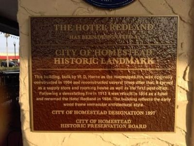 The Hotel Redland Marker image. Click for full size.