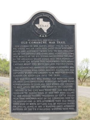 Big Spring State Park on Route of Old Comanche War Trail Marker image. Click for full size.