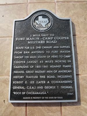 Fort Mason-Camp Cooper Military Road Marker image. Click for full size.