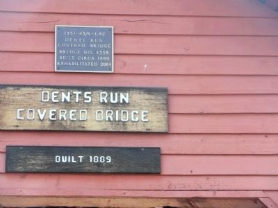 Dents Run Covered Bridge Plaque image. Click for full size.