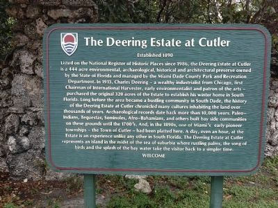 The Deering Estate at Cutler Marker image. Click for full size.