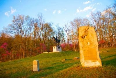 First Massachusetts Cavalry Marker at sunset image. Click for full size.