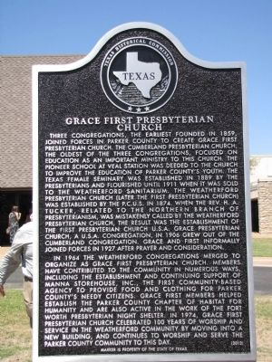 Grace First Presbyterian Church Texas Historical Marker image. Click for full size.