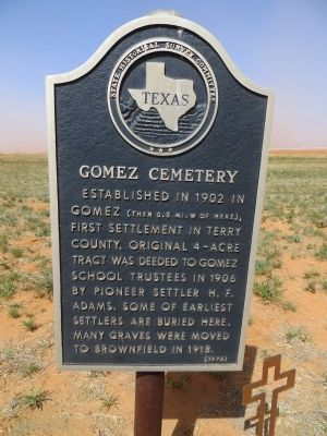 Gomez Cemetery Marker image. Click for full size.