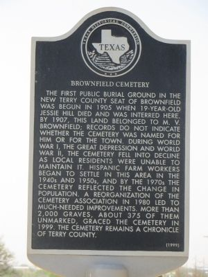 Brownfield Cemetery Marker image. Click for full size.