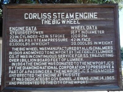 Corliss Steam Engine Marker image. Click for full size.