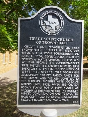 First Baptist Church of Brownfield Marker image. Click for full size.
