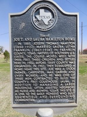 Site of Joe T. and Laura Hamilton Home Marker image. Click for full size.