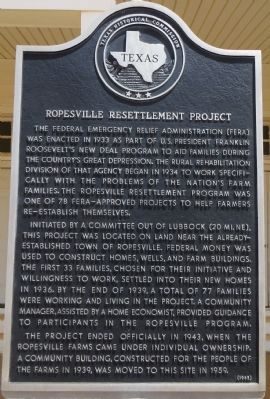 Ropesville Resettlement Project Marker image. Click for full size.