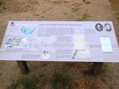 Lewis and Clark reach the Headwaters Marker image. Click for full size.