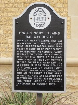 F W & D South Plains Railway Depot Marker image. Click for full size.