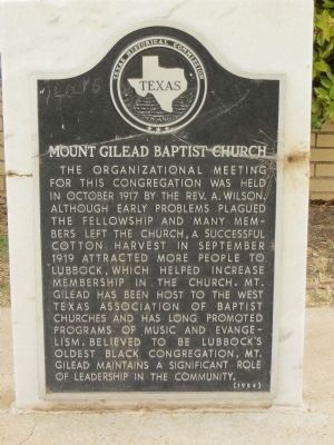 Mount Gilead Baptist Church Marker image. Click for full size.