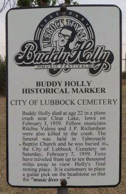 Buddy Holly Historical Marker Marker image. Click for full size.