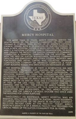 Mercy Hospital Marker image. Click for full size.