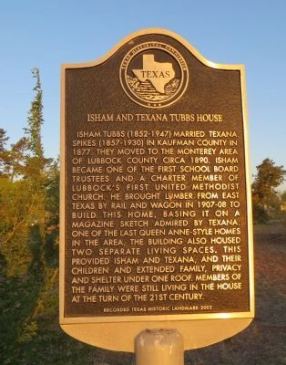Isham and Texana Tubbs House Marker image. Click for full size.