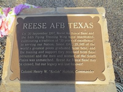 Reese AFB Texas Marker image. Click for full size.