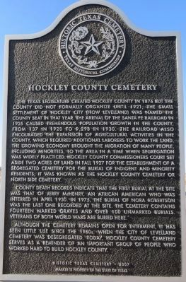 Hockley County Cemetery Marker image. Click for full size.