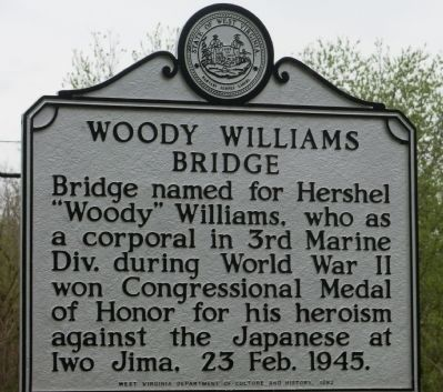 Woody Williams Bridge Marker image. Click for full size.