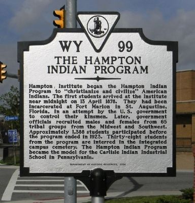 The Hampton Indian Program Marker image. Click for full size.
