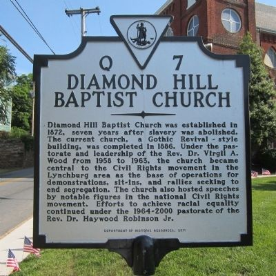 Diamond Hill Baptist Church Marker image. Click for full size.
