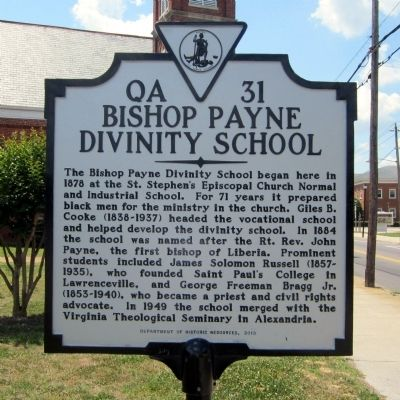 Bishop Payne Divinity School Marker image. Click for full size.