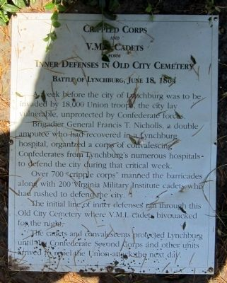Crippled Corps and VM.I. Cadets Form Inner Defenses in Old City Cemetery Marker image. Click for full size.