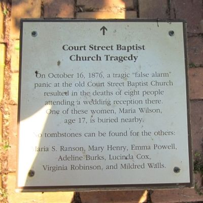Court Street Baptist Church Tragedy Marker image. Click for full size.