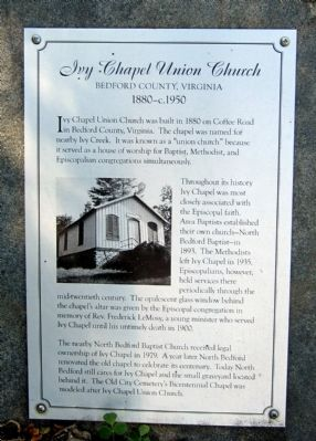 Ivy Chapel Union Church Marker image. Click for full size.
