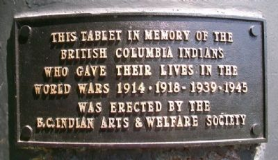 British Columbia Indians World Wars Memorial Marker image. Click for full size.