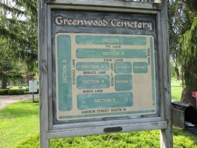 Greenwood Cemetery Map Sign image. Click for full size.