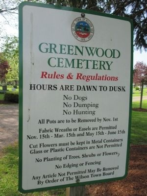 Greenwood Cemetery Rules Sign image. Click for full size.