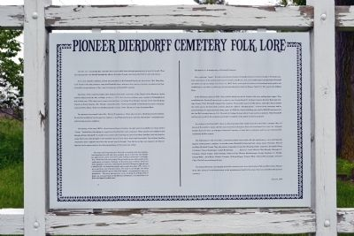Pioneer Dierdorff Cemetery Folk Lore Marker image. Click for full size.
