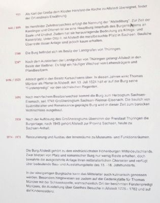 Castle and Chateau Allstedt Marker Timeline image. Click for full size.