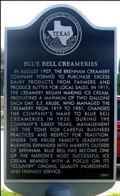 Blue Bell Creameries Marker image. Click for full size.