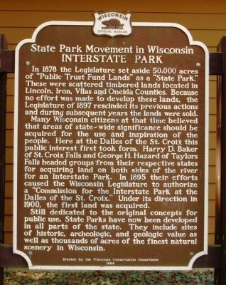State Park Movement in Wisconsin Marker image. Click for full size.