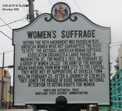 Women's Suffrage Marker image. Click for full size.