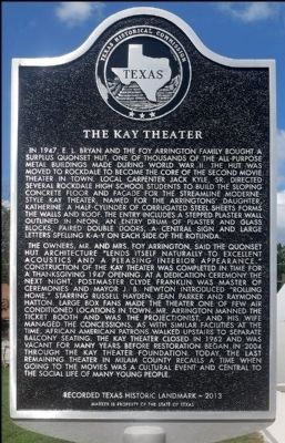 The Kay Theater Marker image. Click for full size.