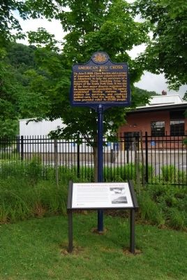 American Red Cross Marker and Johnstown Flood sign image. Click for full size.
