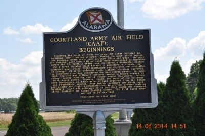 Courtland Army Air Field (CAAF): Beginnings Marker image. Click for full size.