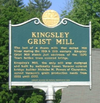 Kingsley Grist Mill Marker image. Click for full size.