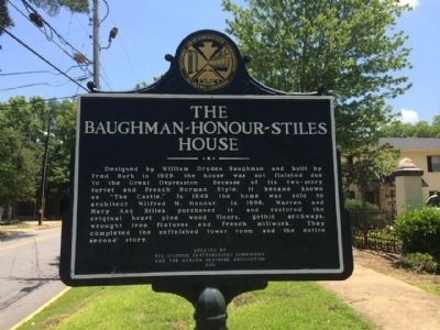 The Baughman-Honour-Stiles House Marker image. Click for full size.