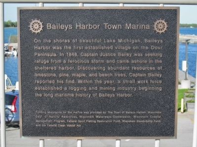 Baileys Harbor Town Marina Marker image. Click for full size.