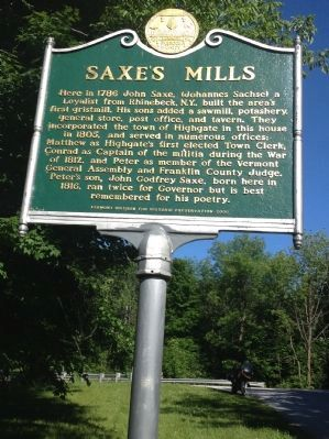 Saxe's Mills Marker image. Click for full size.