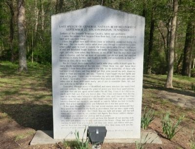 Last Speech of General Nathan Bedford Forrest Marker image. Click for full size.