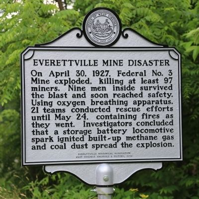 Everettville Mine Disaster Marker image. Click for full size.