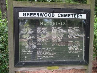 Greenwood Cemetery Memorials Sign image. Click for full size.