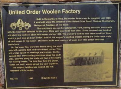 United Order Woolen Mill Marker image. Click for full size.
