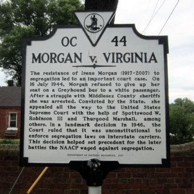 Morgan v. Virginia Marker image. Click for full size.