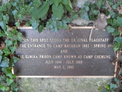 Elmira Prison Camp 1864 - 1865 Original Flagpole Location Marker image. Click for full size.